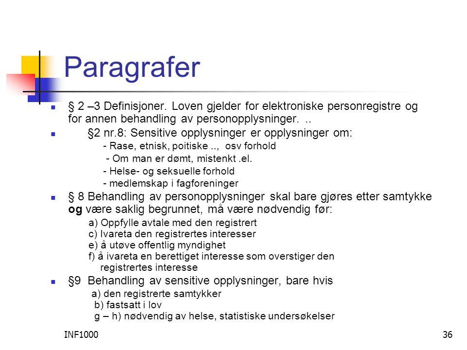 INF100036 Paragrafer  § 2 –3 Definisjoner.