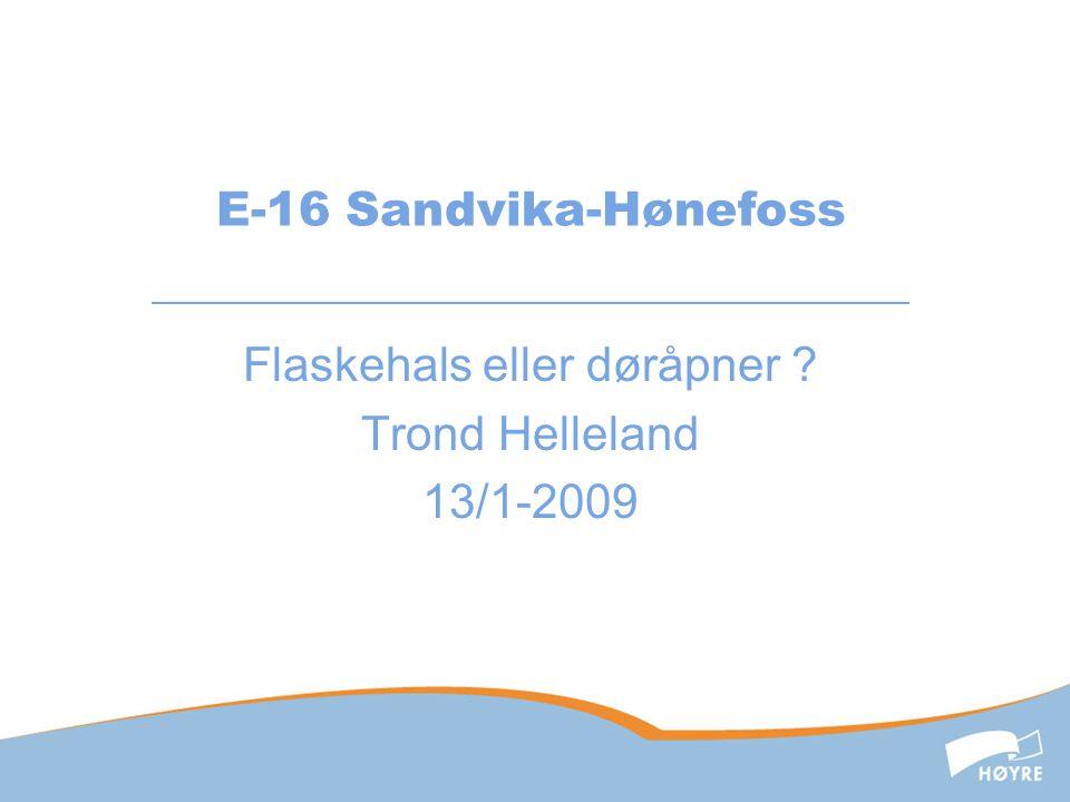E-16 Sandvika-Hønefoss Flaskehals eller døråpner ? Trond Helleland 13/1-2009