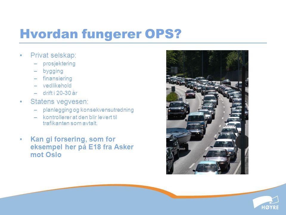 Hvordan fungerer OPS? •Privat selskap: –prosjektering –bygging –finansiering –vedlikehold –drift i 20-30 år •Statens vegvesen: –planlegging og konsekv