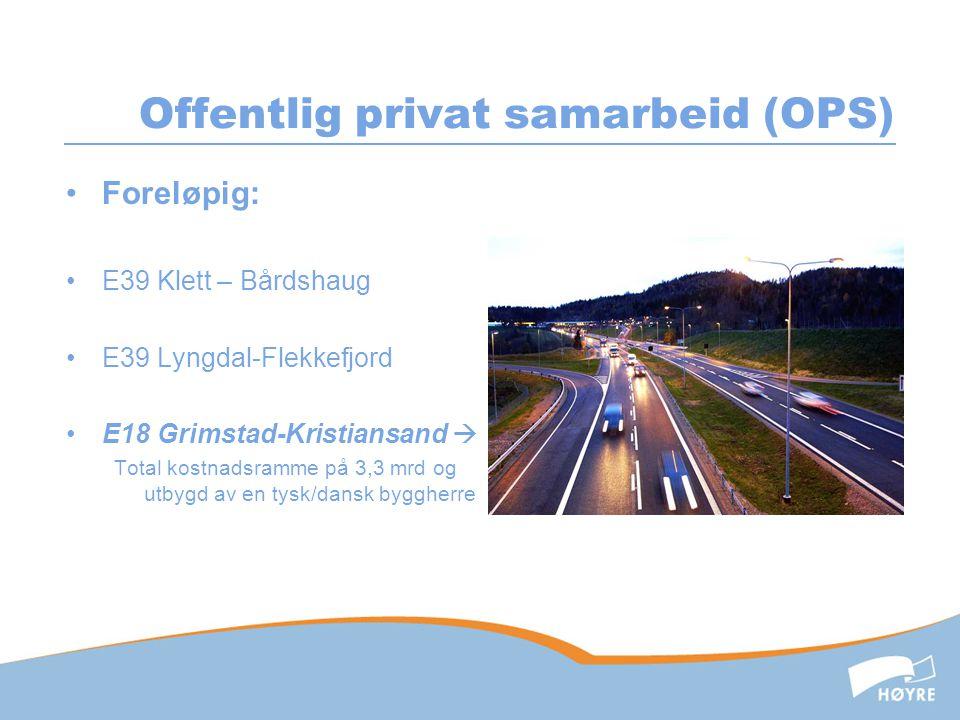 Offentlig privat samarbeid (OPS) •Foreløpig: •E39 Klett – Bårdshaug •E39 Lyngdal-Flekkefjord •E18 Grimstad-Kristiansand  Total kostnadsramme på 3,3 m
