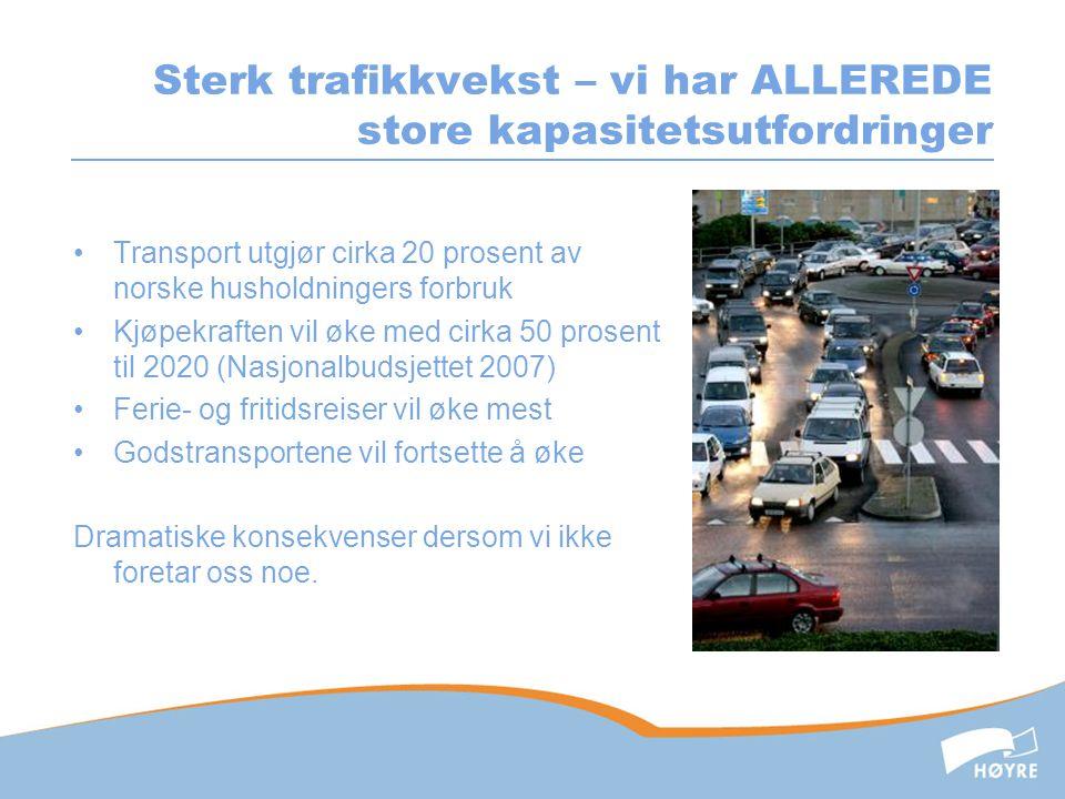 Sterk trafikkvekst – vi har ALLEREDE store kapasitetsutfordringer •Transport utgjør cirka 20 prosent av norske husholdningers forbruk •Kjøpekraften vi