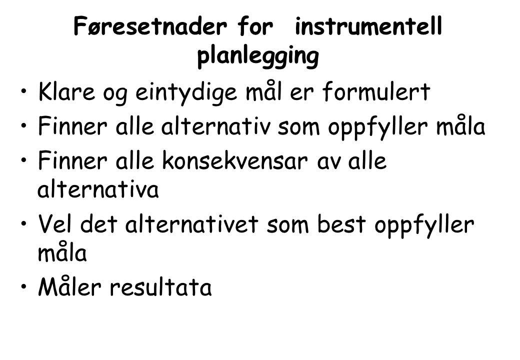 Føresetnader for instrumentell planlegging •Klare og eintydige mål er formulert •Finner alle alternativ som oppfyller måla •Finner alle konsekvensar av alle alternativa •Vel det alternativet som best oppfyller måla •Måler resultata