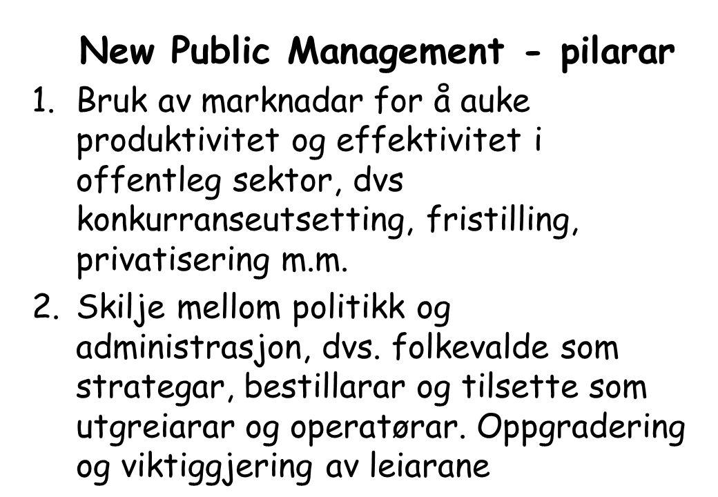 New Public Management - pilarar 1.Bruk av marknadar for å auke produktivitet og effektivitet i offentleg sektor, dvs konkurranseutsetting, fristilling, privatisering m.m.