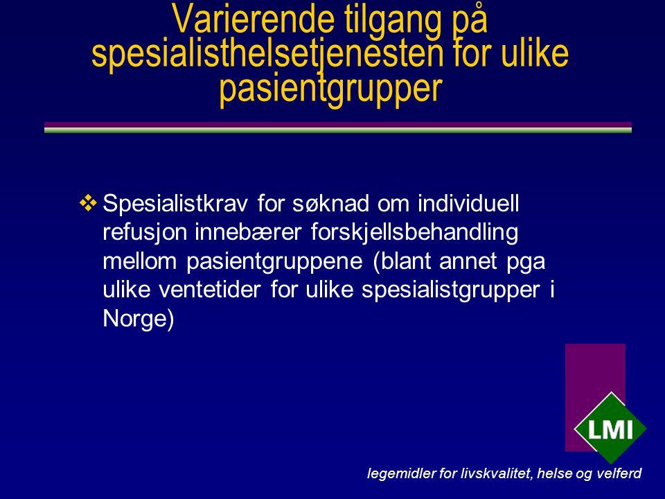 legemidler for livskvalitet, helse og velferd Varierende tilgang på spesialisthelsetjenesten for ulike pasientgrupper  Spesialistkrav for søknad om individuell refusjon innebærer forskjellsbehandling mellom pasientgruppene (blant annet pga ulike ventetider for ulike spesialistgrupper i Norge)