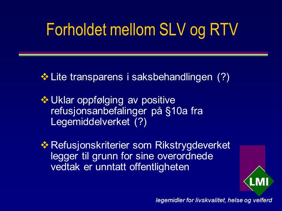 legemidler for livskvalitet, helse og velferd Forholdet mellom SLV og RTV  Lite transparens i saksbehandlingen ( )  Uklar oppfølging av positive refusjonsanbefalinger på §10a fra Legemiddelverket ( )  Refusjonskriterier som Rikstrygdeverket legger til grunn for sine overordnede vedtak er unntatt offentligheten