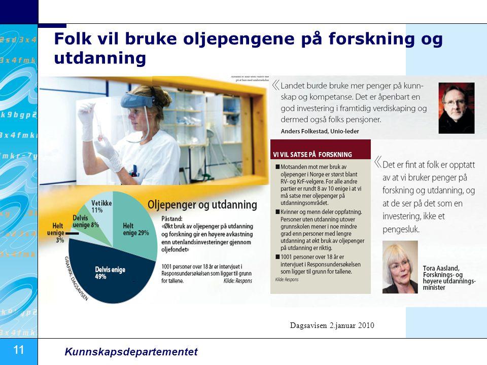 11 Kunnskapsdepartementet Folk vil bruke oljepengene på forskning og utdanning Dagsavisen 2.januar 2010