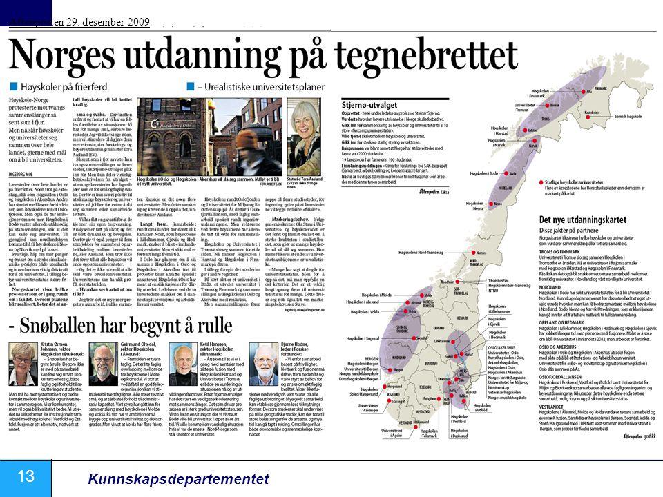 13 Kunnskapsdepartementet Aftenposten 29. desember 2009
