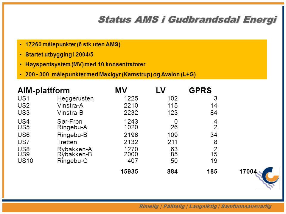 Status AMS i Gudbrandsdal Energi Rimelig   Pålitelig   Langsiktig   Samfunnsansvarlig AIM-plattformMVLVGPRS US1Heggerusten12251023 US2Vinstra-A2210115