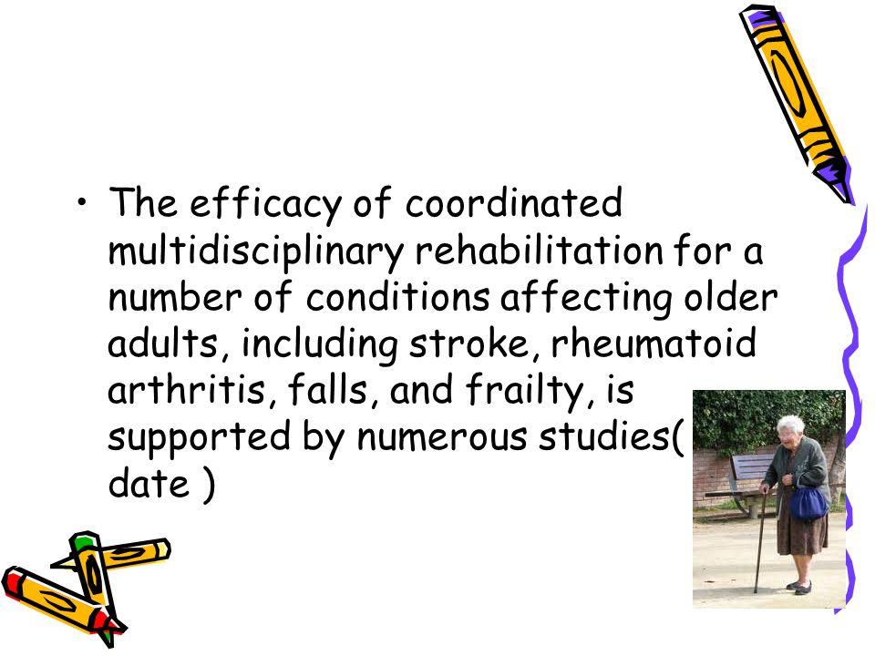 •forskning på isolert effekt av rehabilitering er krevende i akutt fase, grunnet samtidig behandling og tilstandens spontanforløp