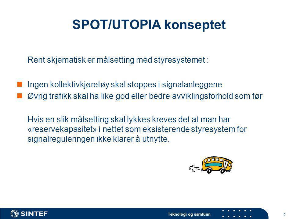 Teknologi og samfunn 2 SPOT/UTOPIA konseptet Rent skjematisk er målsetting med styresystemet :  Ingen kollektivkjøretøy skal stoppes i signalanleggen