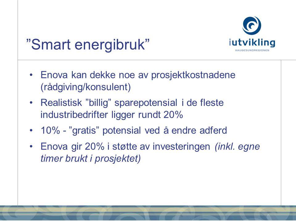 Smart energibruk •Enova kan dekke noe av prosjektkostnadene (rådgiving/konsulent) •Realistisk billig sparepotensial i de fleste industribedrifter ligger rundt 20% •10% - gratis potensial ved å endre adferd •Enova gir 20% i støtte av investeringen (inkl.