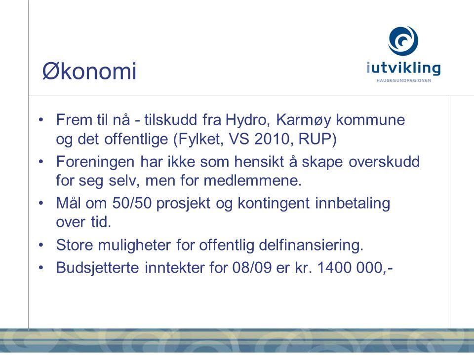 Økonomi •Frem til nå - tilskudd fra Hydro, Karmøy kommune og det offentlige (Fylket, VS 2010, RUP) •Foreningen har ikke som hensikt å skape overskudd for seg selv, men for medlemmene.