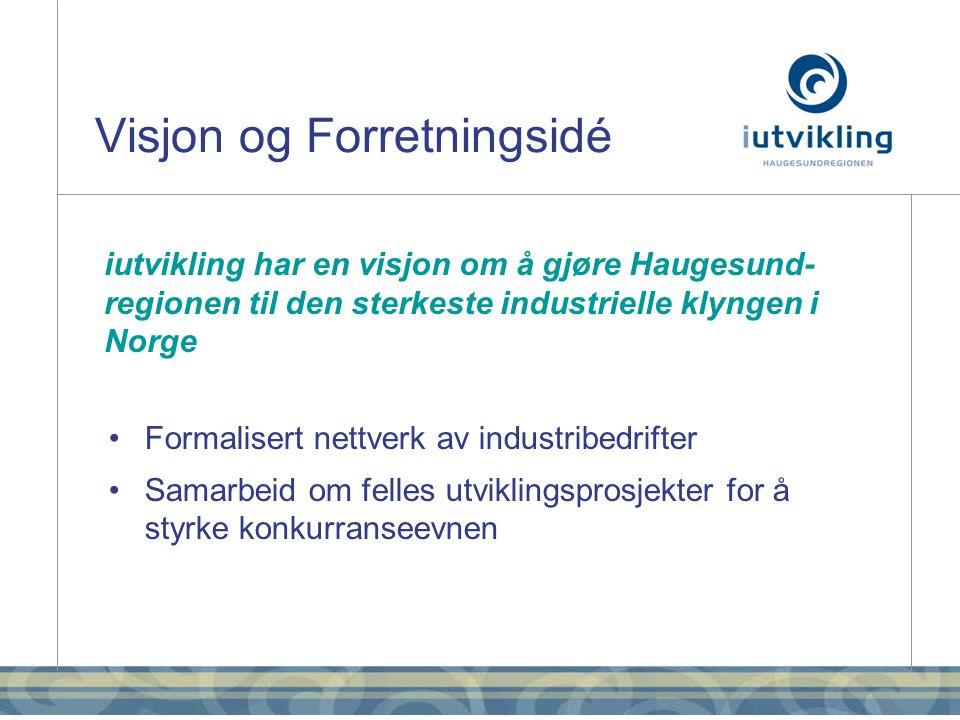 Visjon og Forretningsidé iutvikling har en visjon om å gjøre Haugesund- regionen til den sterkeste industrielle klyngen i Norge •Formalisert nettverk av industribedrifter •Samarbeid om felles utviklingsprosjekter for å styrke konkurranseevnen