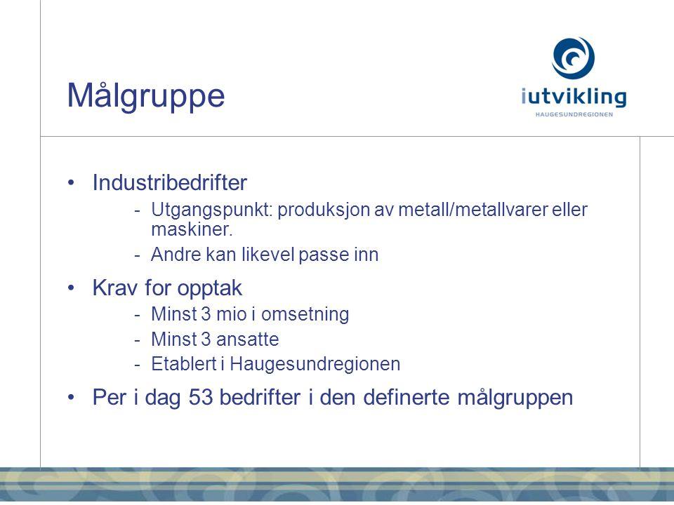Målgruppe •Industribedrifter - Utgangspunkt: produksjon av metall/metallvarer eller maskiner.
