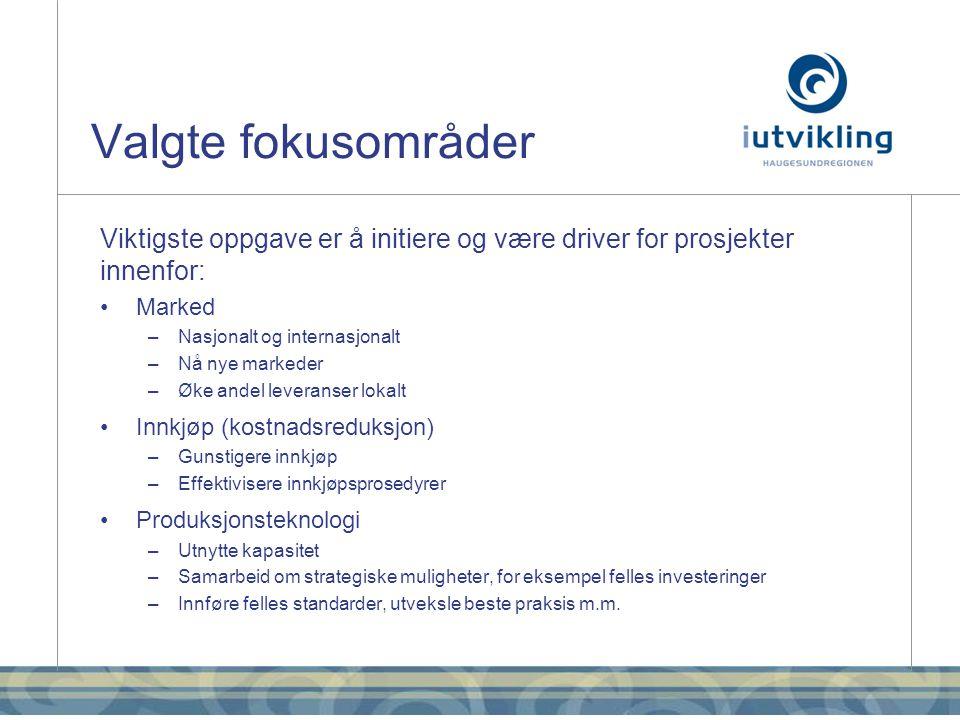 Igangsatte prosjekter •ONS og kartlegging av messer –12 bedrifter på fellesstand på ONS –Samarbeider med HN / Markedssamarbeidet Haugesundregionen • Synliggjøring av ledig produksjonskapasitet –Utvikling av websystem for å synliggjøre ledige ressurser og produksjonskapasitet –7 bedrifter med støtte fra Innovasjon Norge • Smart energibruk –Prosjekt i samarbeid med Enova •Marint Energi Test Senter (METSenter) og POWER+ –iutvikling sørger for at medlemmene får gode muligheter til å delta på prosjekter rundt METSenter –Engasjert Polytec for å utarbeide mulighetsstudie