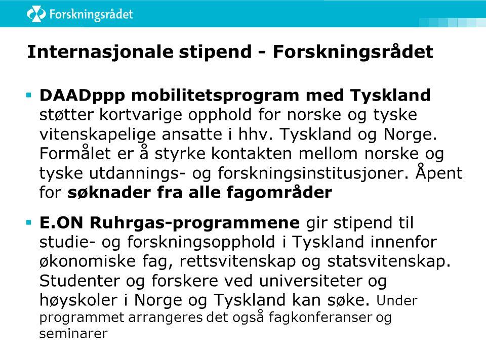 Internasjonale stipend - Forskningsrådet  DAADppp mobilitetsprogram med Tyskland støtter kortvarige opphold for norske og tyske vitenskapelige ansatt