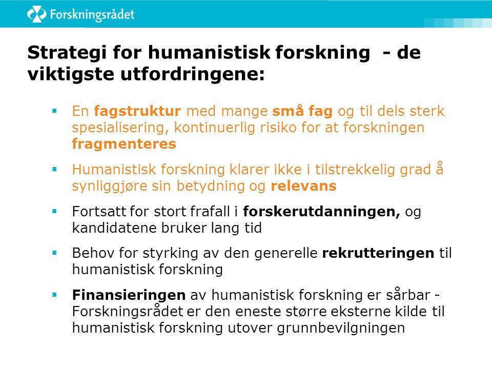 Strategi for humanistisk forskning - de viktigste utfordringene:  En fagstruktur med mange små fag og til dels sterk spesialisering, kontinuerlig ris