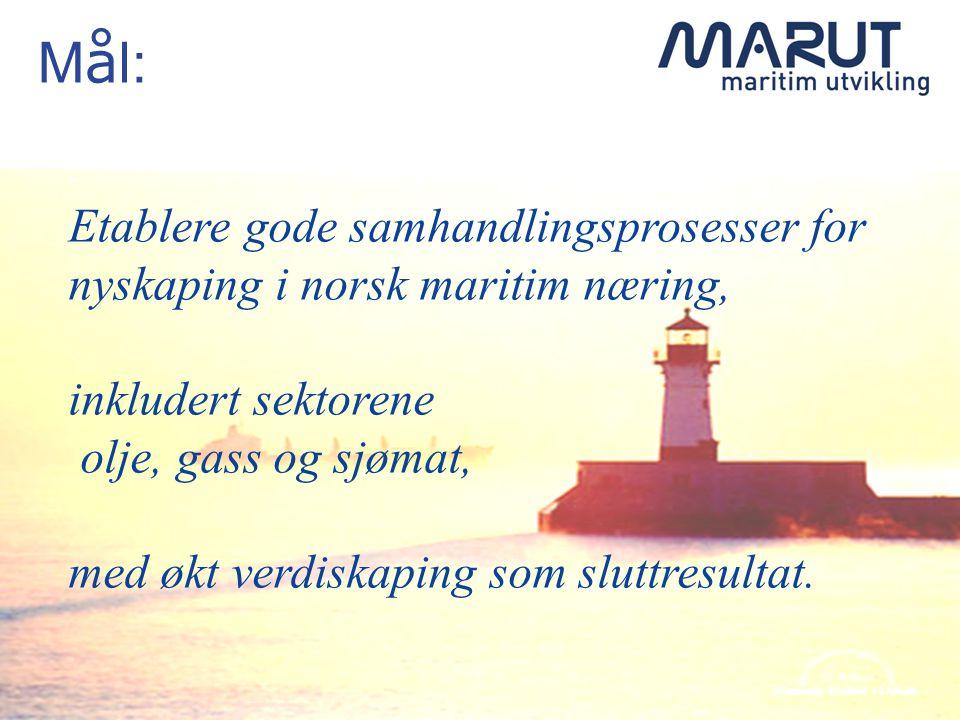 M å l: Etablere gode samhandlingsprosesser for nyskaping i norsk maritim næring, inkludert sektorene olje, gass og sjømat, med økt verdiskaping som sluttresultat.