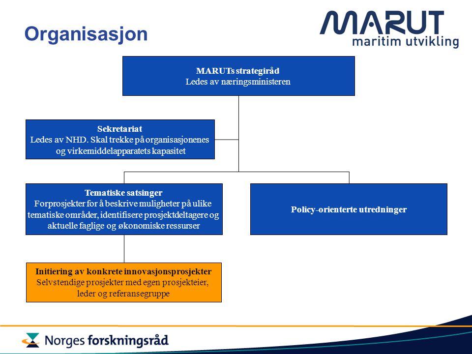 MARUTs strategiråd Ledes av næringsministeren Sekretariat Ledes av NHD.
