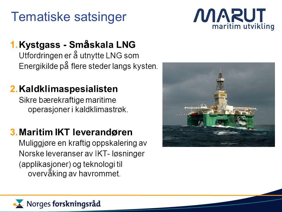 Tematiske satsinger 1.Kystgass - Sm å skala LNG Utfordringen er å utnytte LNG som Energikilde p å flere steder langs kysten.
