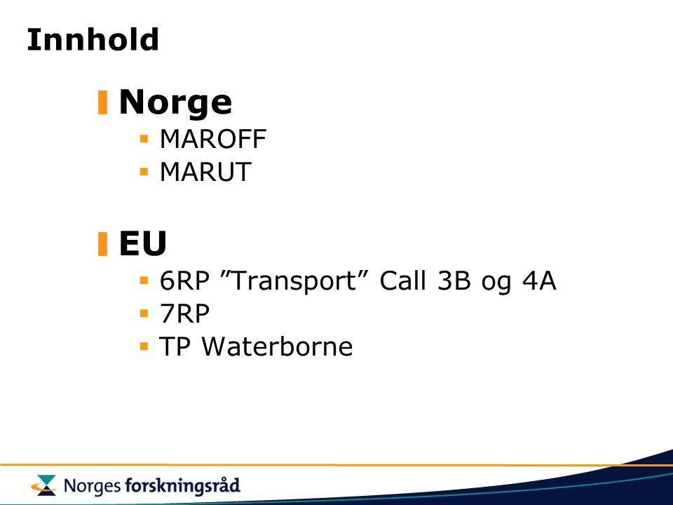 Innhold Norge  MAROFF  MARUT EU  6RP Transport Call 3B og 4A  7RP  TP Waterborne