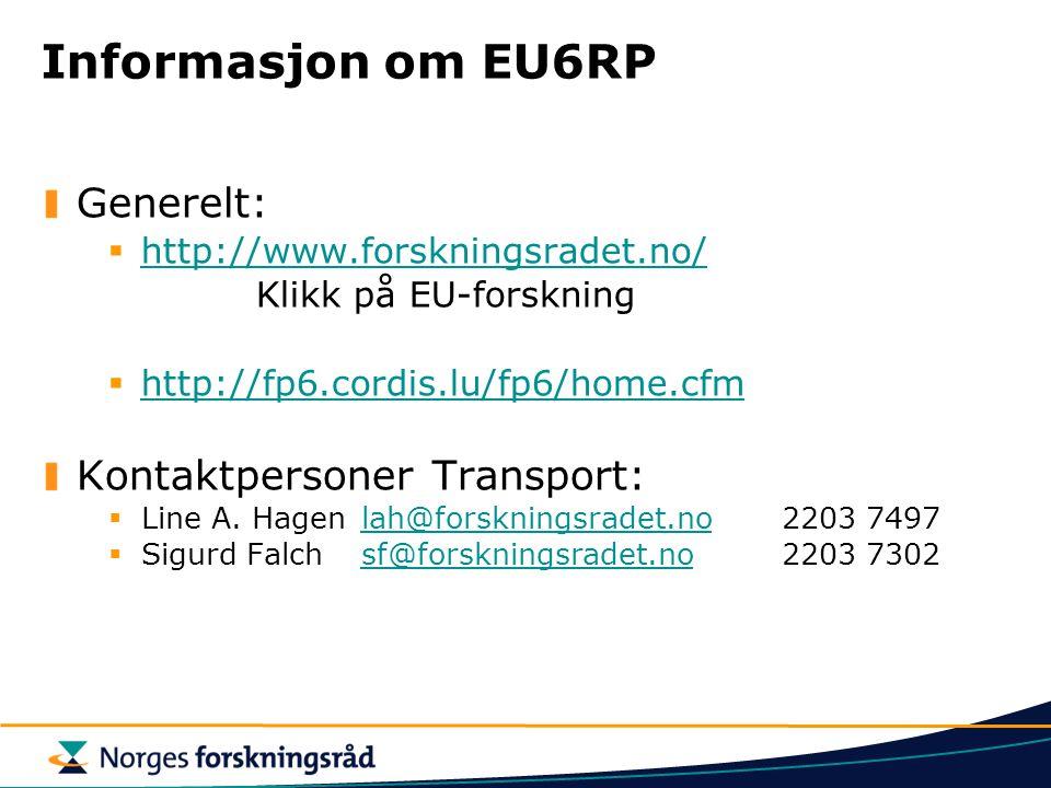 Informasjon om EU6RP Generelt:  http://www.forskningsradet.no/ http://www.forskningsradet.no/ Klikk på EU-forskning  http://fp6.cordis.lu/fp6/home.cfm http://fp6.cordis.lu/fp6/home.cfm Kontaktpersoner Transport:  Line A.