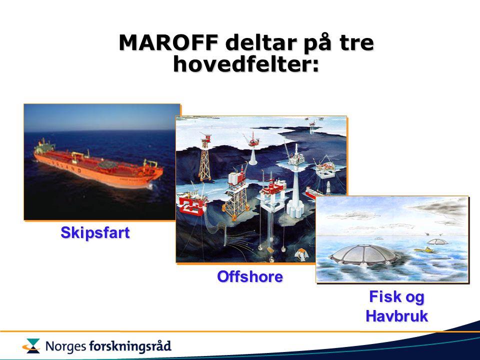 Skipsfart Offshore Fisk og Havbruk MAROFF deltar på tre hovedfelter: