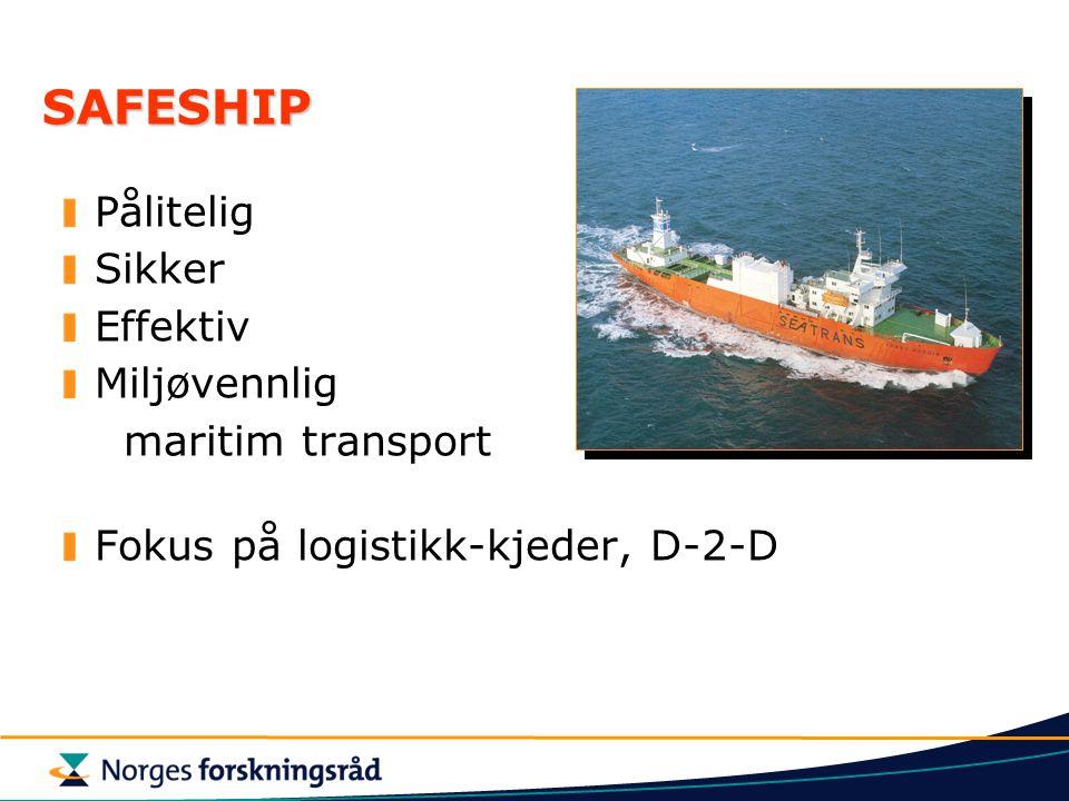SAFESHIP Pålitelig Sikker Effektiv Miljøvennlig maritim transport Fokus på logistikk-kjeder, D-2-D