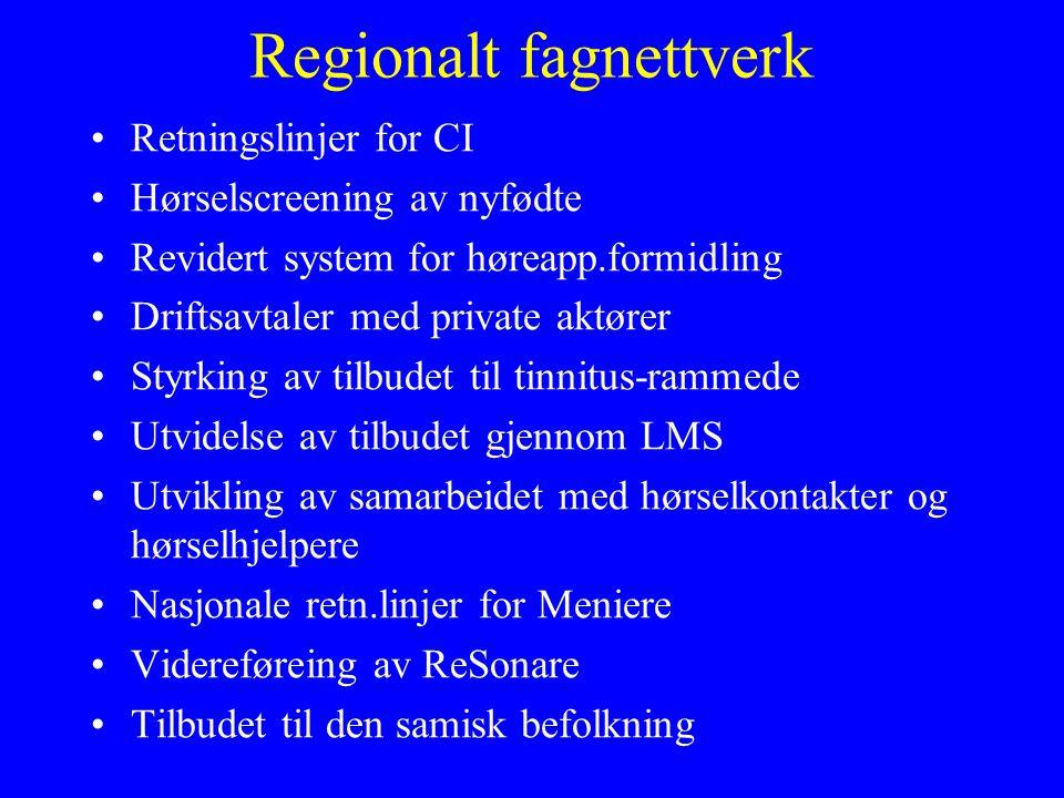 Regionalt fagnettverk •Retningslinjer for CI •Hørselscreening av nyfødte •Revidert system for høreapp.formidling •Driftsavtaler med private aktører •Styrking av tilbudet til tinnitus-rammede •Utvidelse av tilbudet gjennom LMS •Utvikling av samarbeidet med hørselkontakter og hørselhjelpere •Nasjonale retn.linjer for Meniere •Videreføreing av ReSonare •Tilbudet til den samisk befolkning
