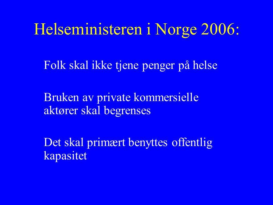 Helseministeren i Norge 2006: Folk skal ikke tjene penger på helse Bruken av private kommersielle aktører skal begrenses Det skal primært benyttes offentlig kapasitet