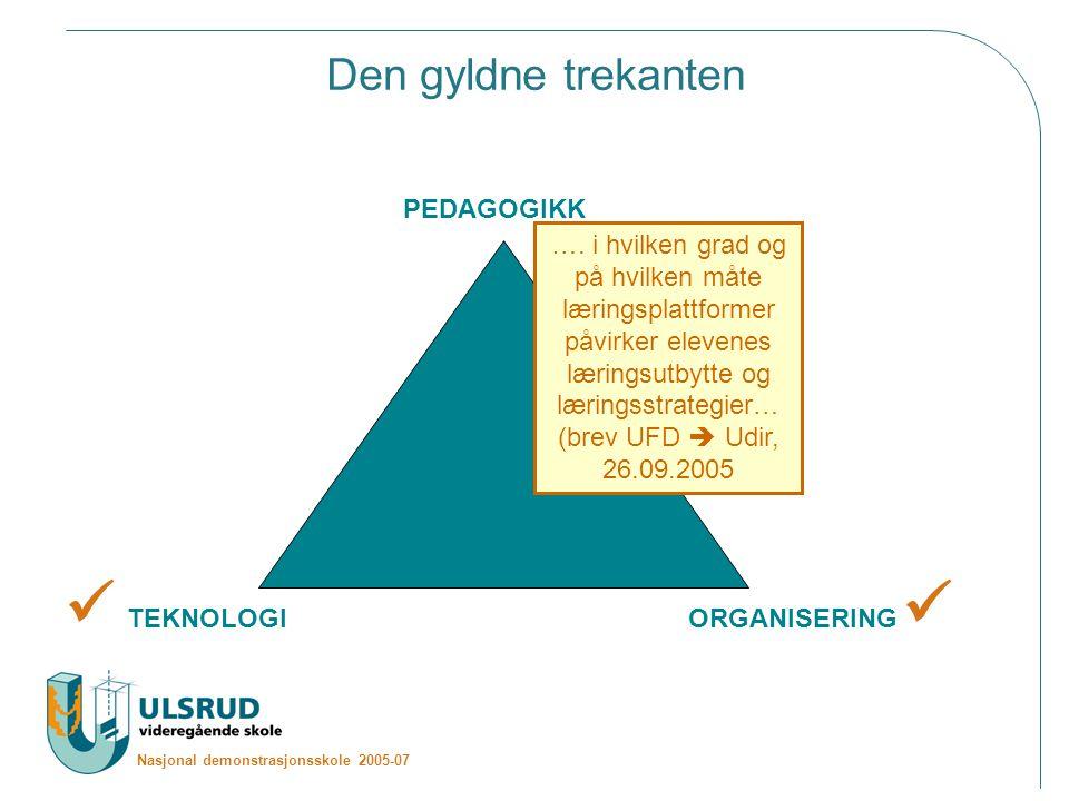 Nasjonal demonstrasjonsskole 2005-07 Den gyldne trekanten PEDAGOGIKK TEKNOLOGIORGANISERING ….