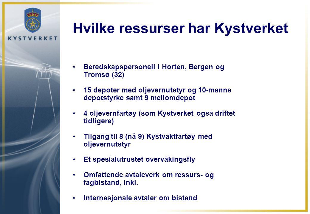 Hvilke ressurser har Kystverket •Beredskapspersonell i Horten, Bergen og Tromsø (32) •15 depoter med oljevernutstyr og 10-manns depotstyrke samt 9 mel