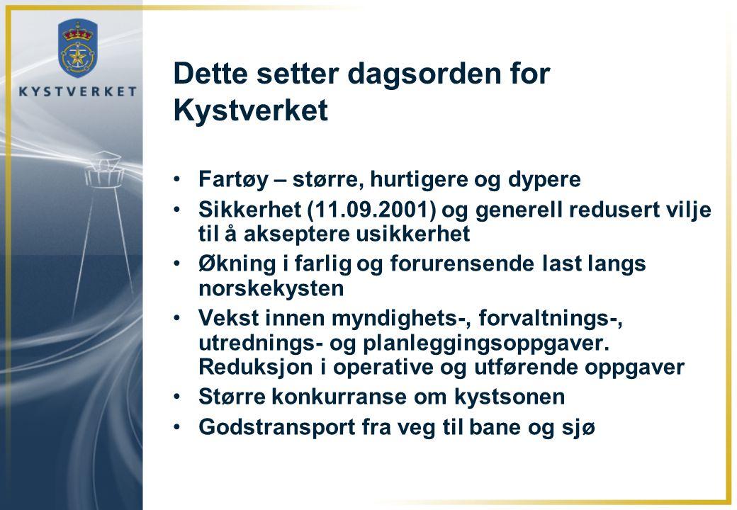 Dette setter dagsorden for Kystverket •Fartøy – større, hurtigere og dypere •Sikkerhet (11.09.2001) og generell redusert vilje til å akseptere usikker