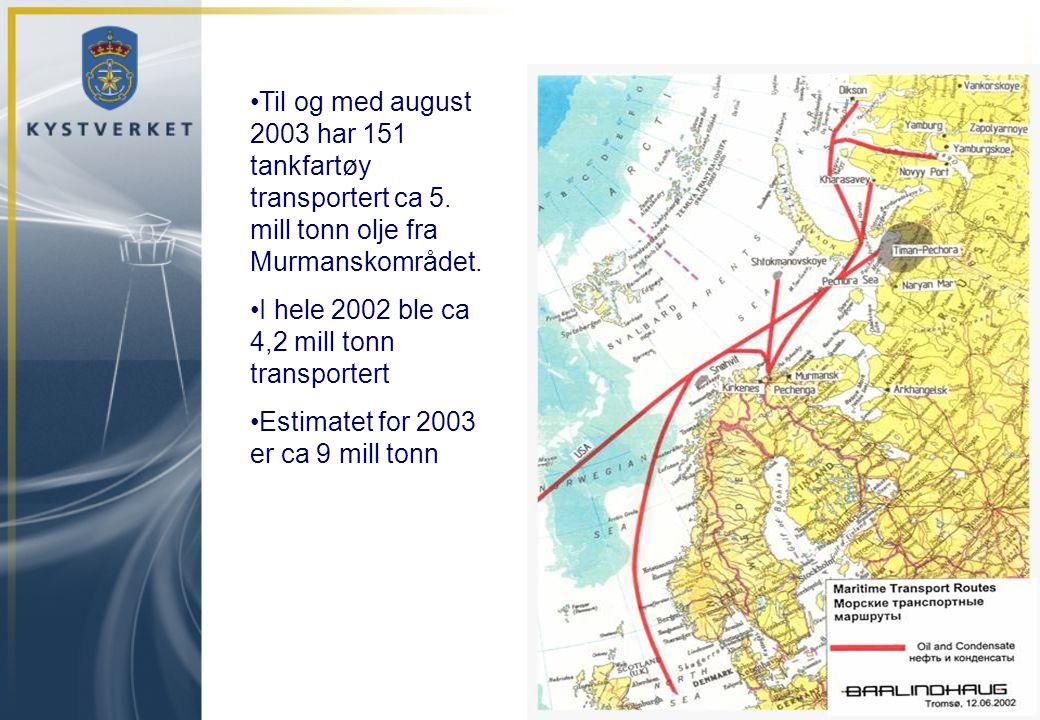 •Til og med august 2003 har 151 tankfartøy transportert ca 5. mill tonn olje fra Murmanskområdet. •I hele 2002 ble ca 4,2 mill tonn transportert •Esti
