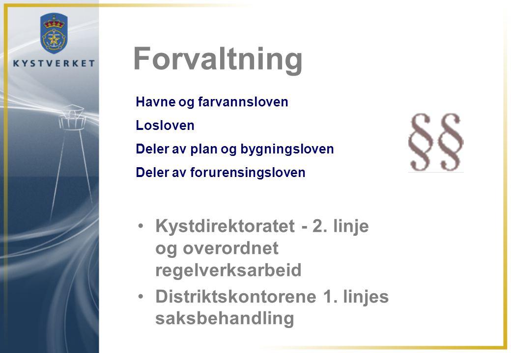 Dette setter dagsorden for Kystverket •Fartøy – større, hurtigere og dypere •Sikkerhet (11.09.2001) og generell redusert vilje til å akseptere usikkerhet •Økning i farlig og forurensende last langs norskekysten •Vekst innen myndighets-, forvaltnings-, utrednings- og planleggingsoppgaver.
