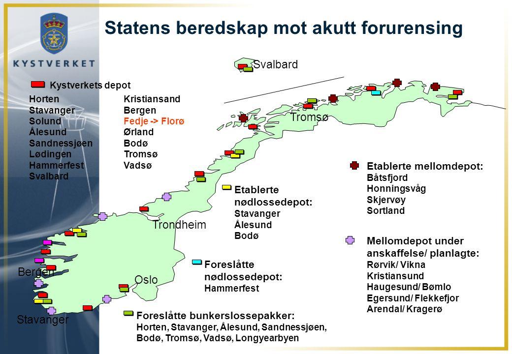 Statens beredskap mot akutt forurensing HortenKristiansand Stavanger Bergen SolundFedje -> Florø ÅlesundØrland SandnessjøenBodø LødingenTromsø Hammerf