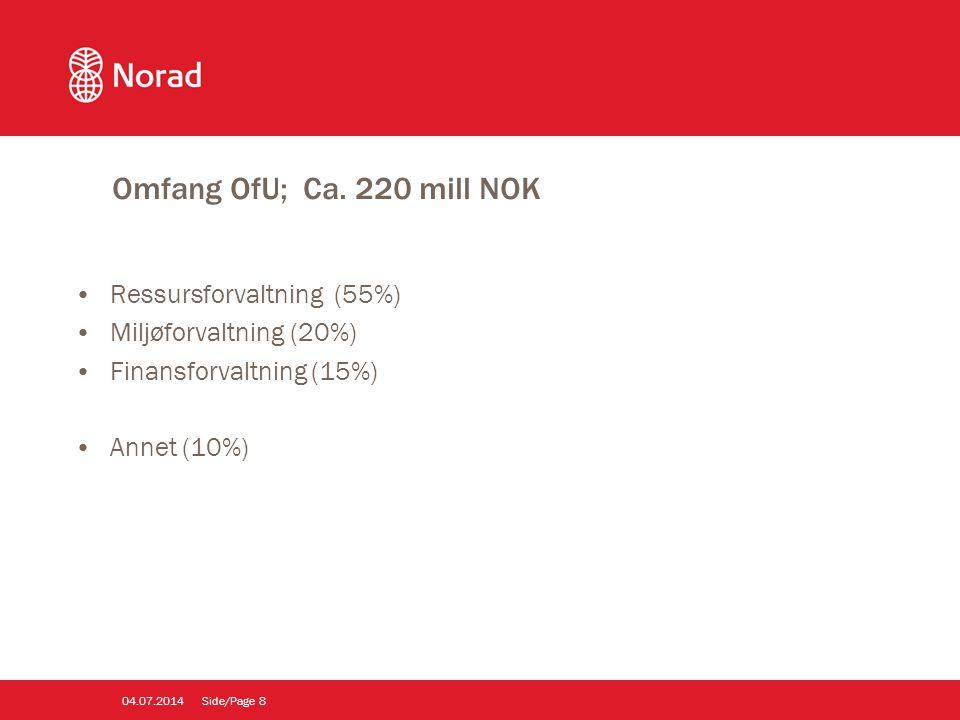 Omfang OfU; Ca. 220 mill NOK •Ressursforvaltning (55%) •Miljøforvaltning (20%) •Finansforvaltning (15%) •Annet (10%) Side/Page804.07.2014