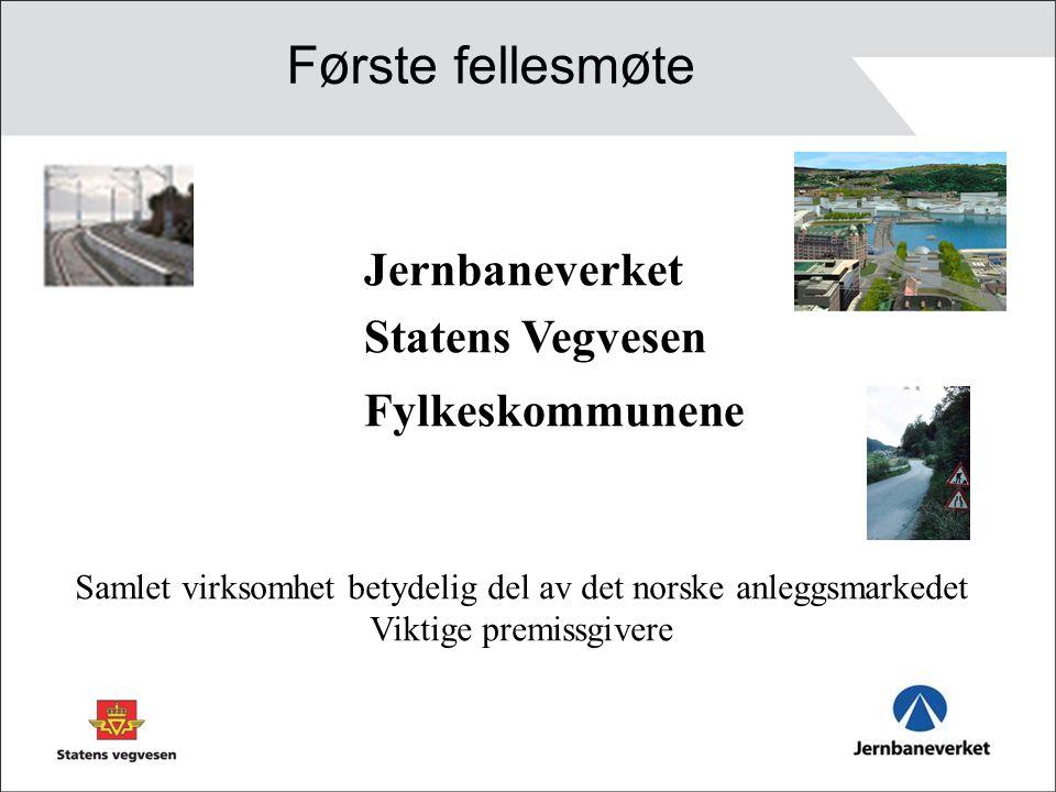 Jernbaneverket Statens Vegvesen Fylkeskommunene F ø rste fellesm ø te Samlet virksomhet betydelig del av det norske anleggsmarkedet Viktige premissgivere