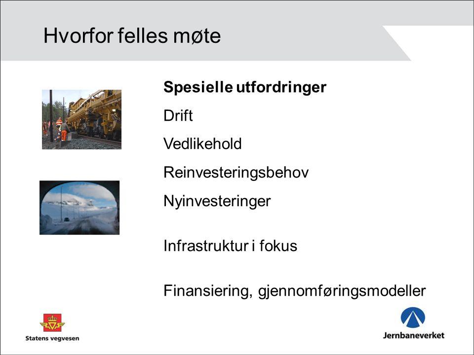 Spesielle utfordringer Drift Vedlikehold Reinvesteringsbehov Nyinvesteringer Infrastruktur i fokus Finansiering, gjennomføringsmodeller Hvorfor felles m ø te