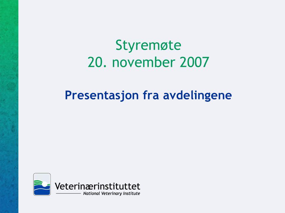 Styremøte 20. november 2007 Presentasjon fra avdelingene