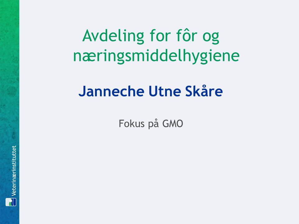 Avdeling for fôr og næringsmiddelhygiene Janneche Utne Skåre Fokus på GMO