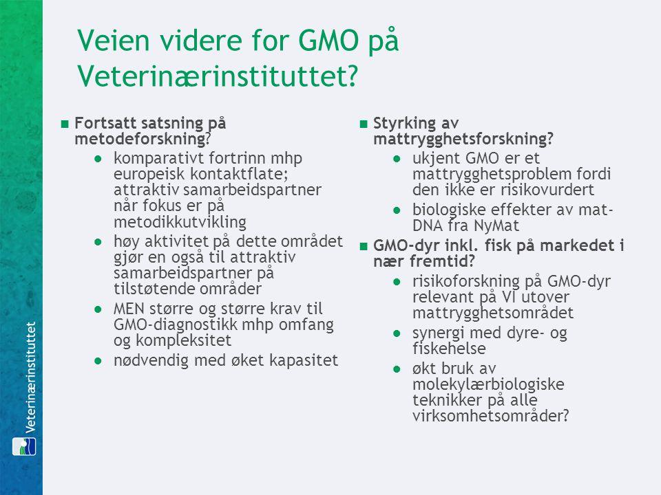 Veien videre for GMO på Veterinærinstituttet?  Fortsatt satsning på metodeforskning? ●komparativt fortrinn mhp europeisk kontaktflate; attraktiv sama