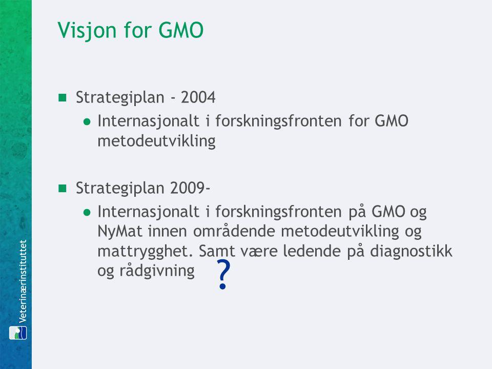Visjon for GMO  Strategiplan - 2004 ●Internasjonalt i forskningsfronten for GMO metodeutvikling  Strategiplan 2009- ●Internasjonalt i forskningsfron