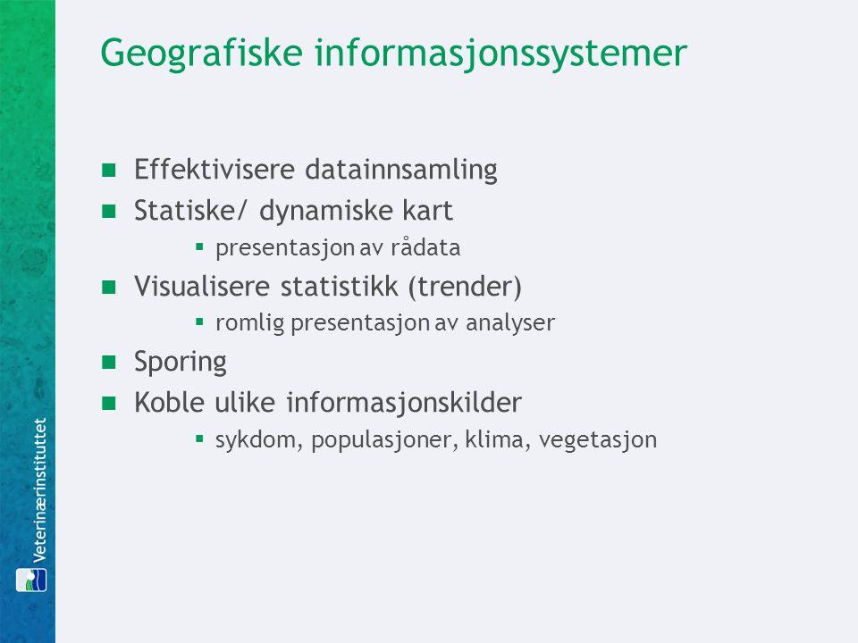 Geografiske informasjonssystemer  Effektivisere datainnsamling  Statiske/ dynamiske kart  presentasjon av rådata  Visualisere statistikk (trender)