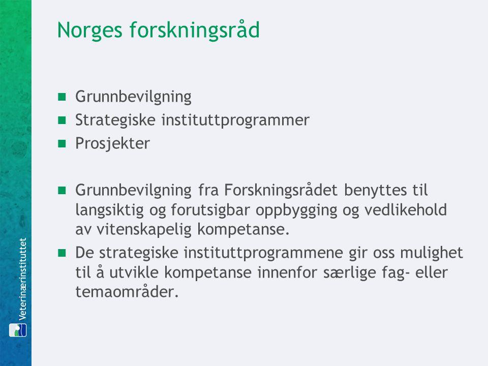 Norges forskningsråd  Grunnbevilgning  Strategiske instituttprogrammer  Prosjekter  Grunnbevilgning fra Forskningsrådet benyttes til langsiktig og
