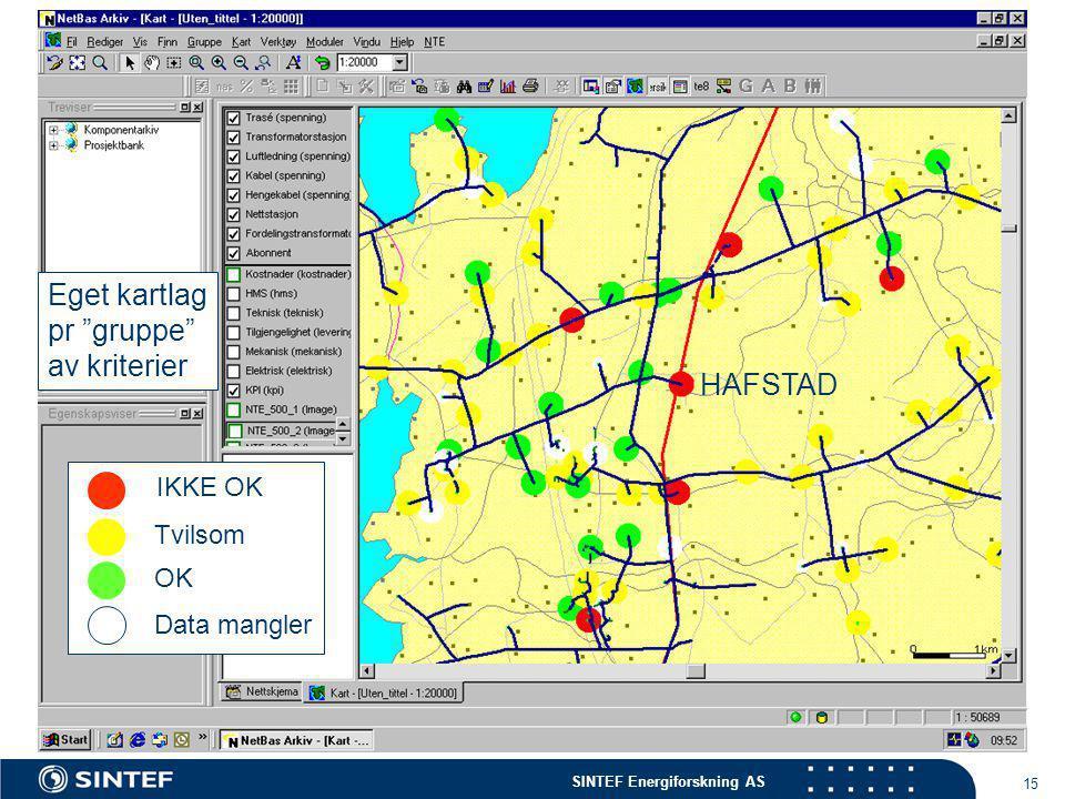 SINTEF Energiforskning AS 15 IKKE OK Tvilsom OK Data mangler Eget kartlag pr gruppe av kriterier HAFSTAD