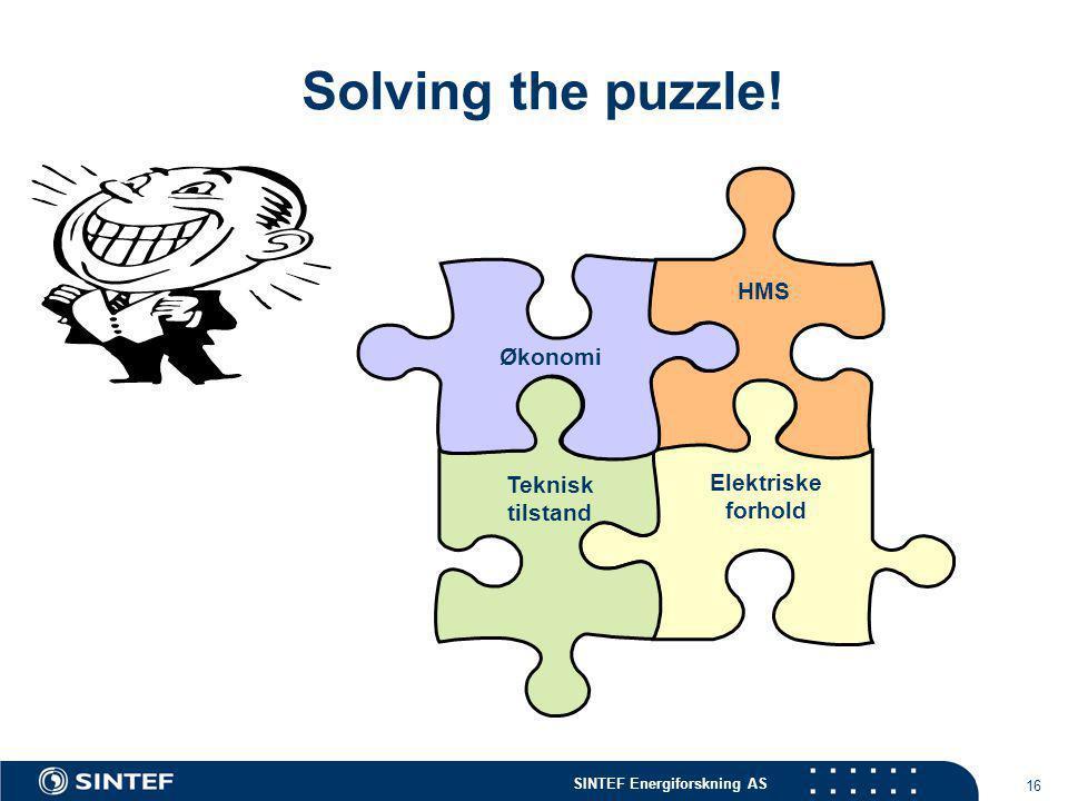 SINTEF Energiforskning AS 16 Solving the puzzle! HMS Elektriske forhold Teknisk tilstand Økonomi