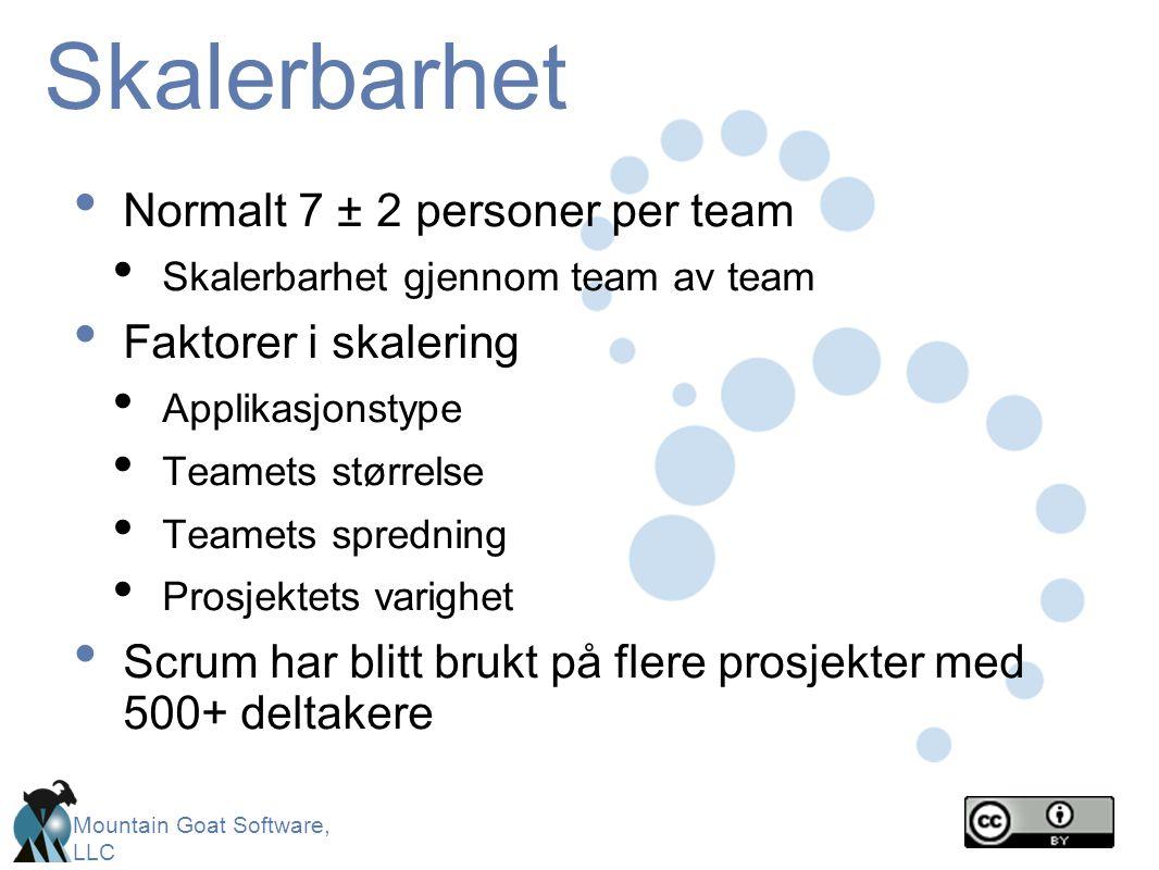 Mountain Goat Software, LLC Skalerbarhet • Normalt 7 ± 2 personer per team • Skalerbarhet gjennom team av team • Faktorer i skalering • Applikasjonsty