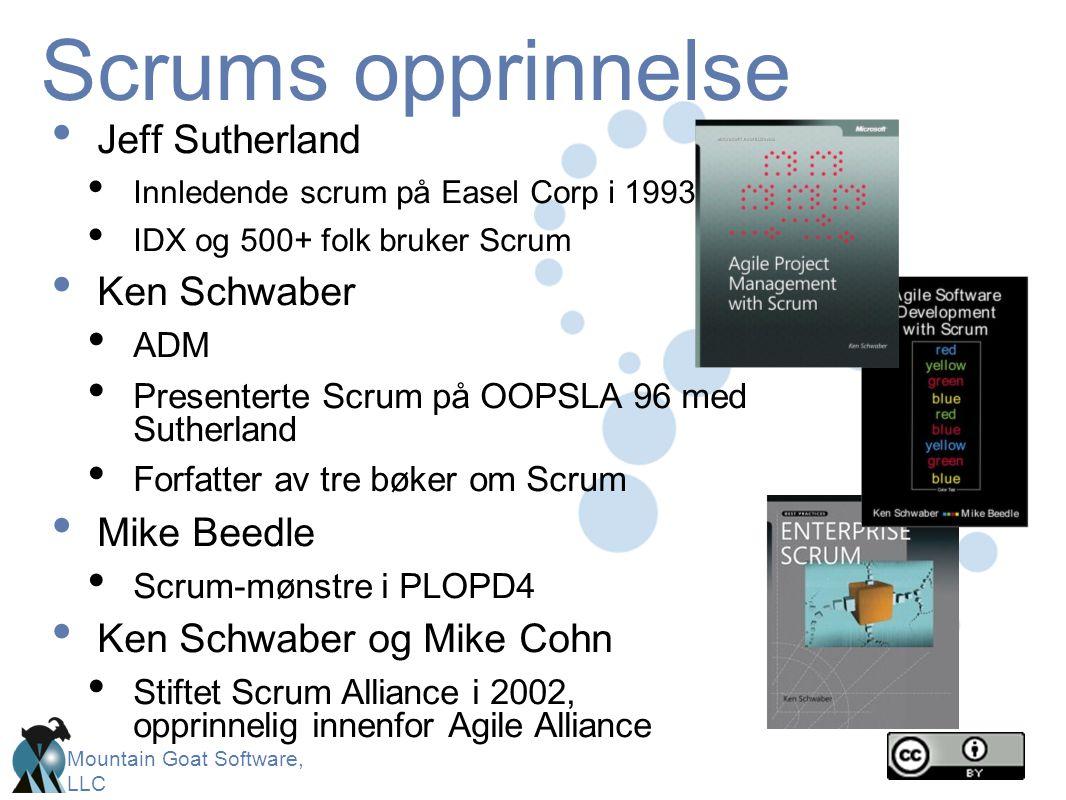 Mountain Goat Software, LLC Scrum-rammeverket • Produkteier • ScrumMaster • Teamet Roller • Sprint-planlegging • Sprint-gjennomgang • Sprint-retrospekt • Daglige scrum-møter Seremonier • Product backlog • Sprint backlog • Burndown-diagram Artefakter