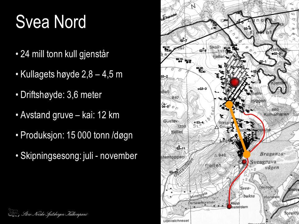 Svea Nord • 24 mill tonn kull gjenstår • Kullagets høyde 2,8 – 4,5 m • Driftshøyde: 3,6 meter • Avstand gruve – kai: 12 km • Produksjon: 15 000 tonn /